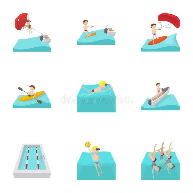 水被设置的锻炼象,动画片样式 向量例证