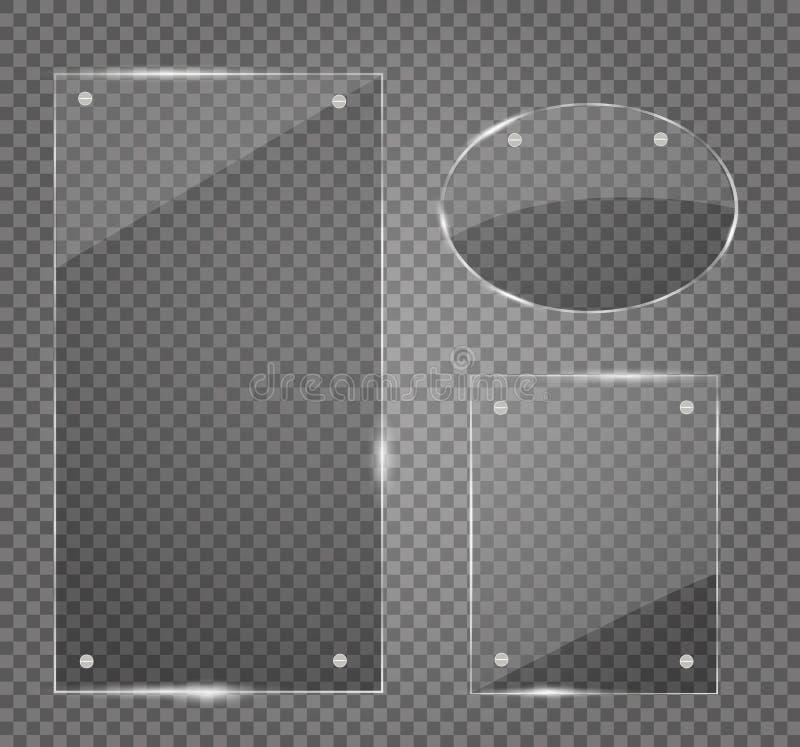 被设置的玻璃板 在透明背景的传染媒介玻璃横幅 向量例证