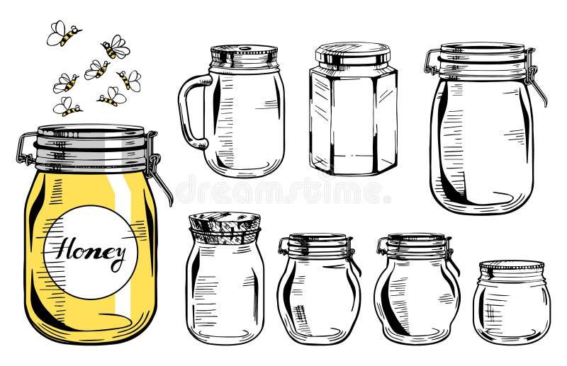 被设置的玻璃瓶子 库存例证