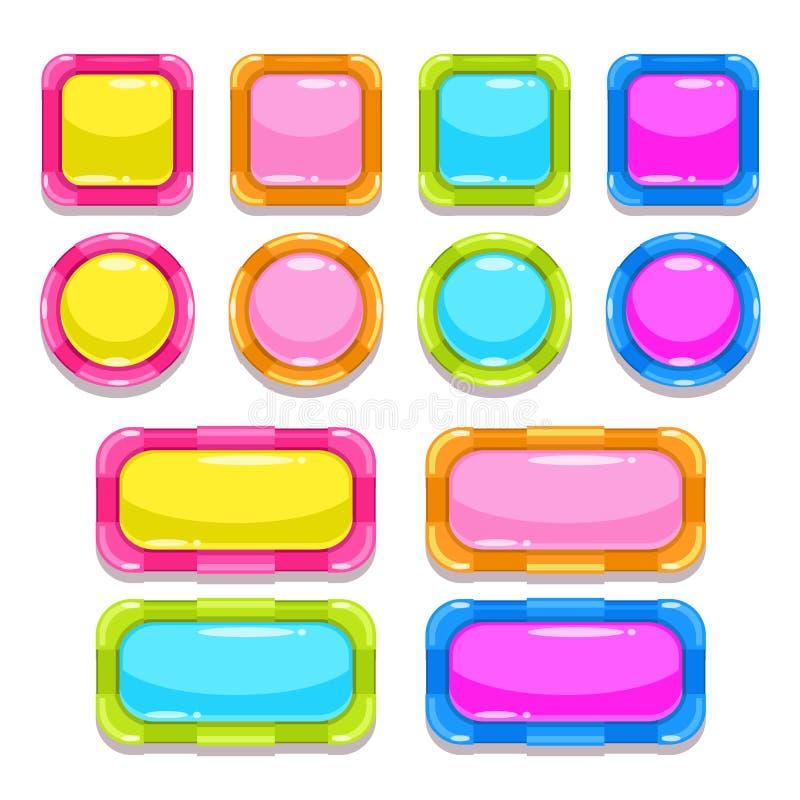 被设置的滑稽的五颜六色的按钮 库存例证
