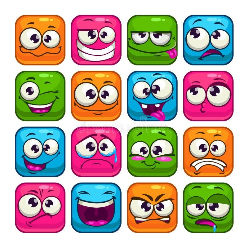 被设置的滑稽的五颜六色的方形的面孔 库存例证