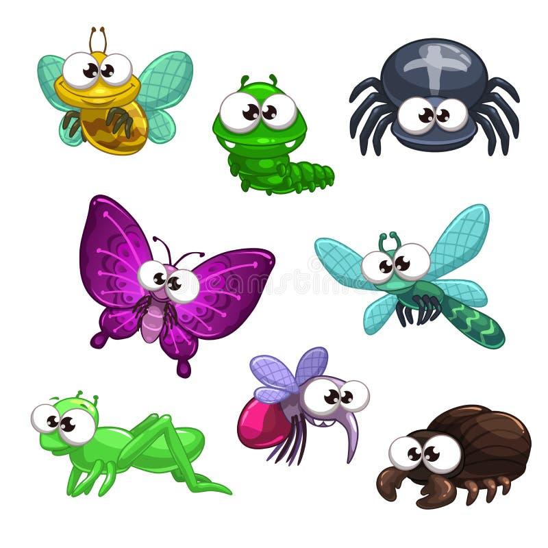 被设置的滑稽的动画片昆虫 向量例证
