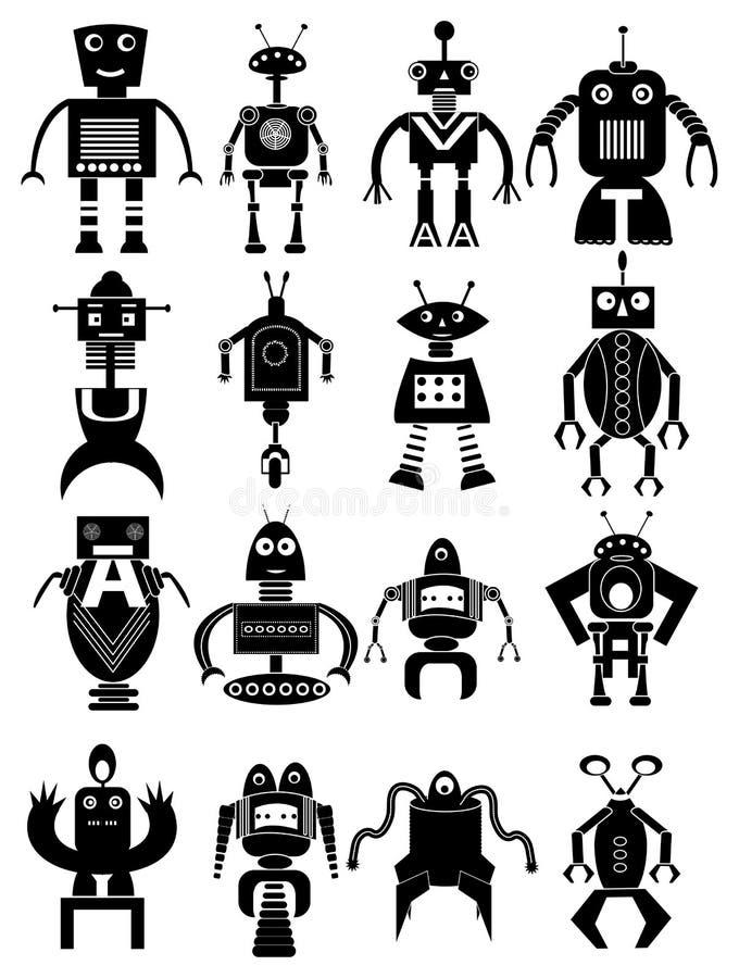 被设置的滑稽的机器人象 库存例证