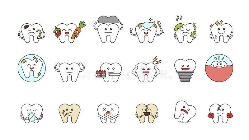 被设置的滑稽的牙 向量例证