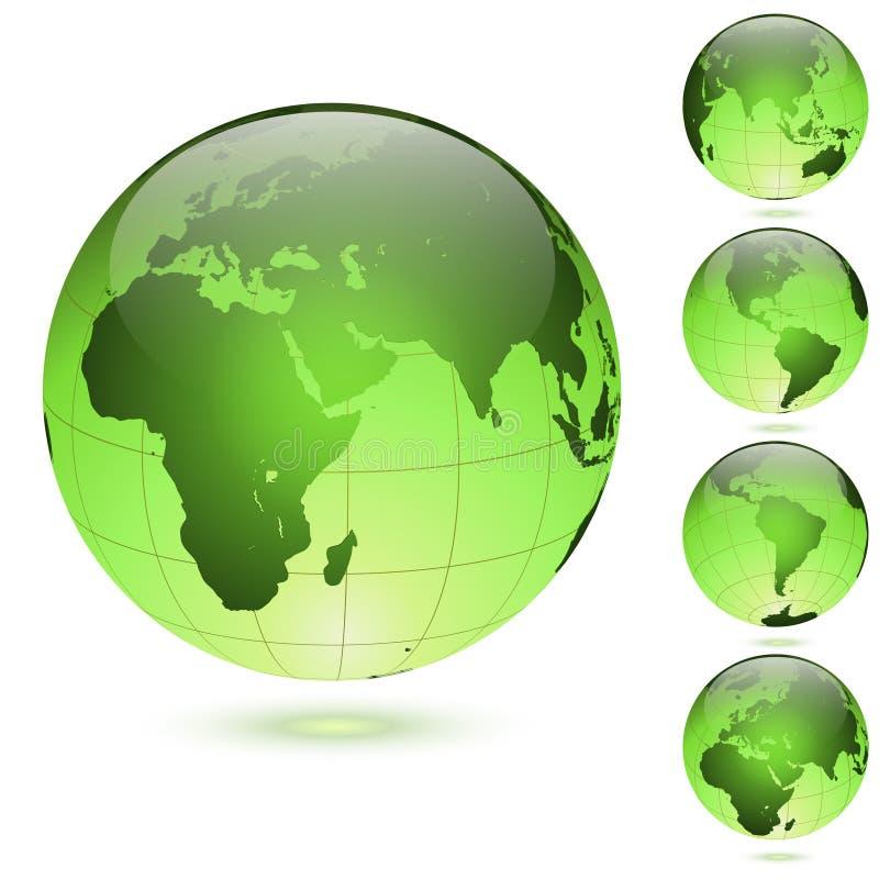 被设置的绿色光滑的地球 皇族释放例证