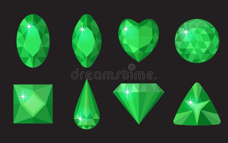 被设置的绿色宝石 首饰,在黑背景的水晶汇集 绿宝石,不同的形状,裁减金刚石  向量例证