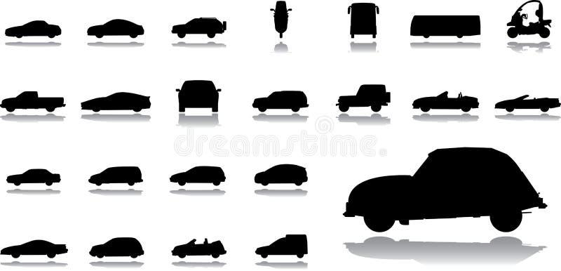 被设置的14个大汽车图标 向量例证