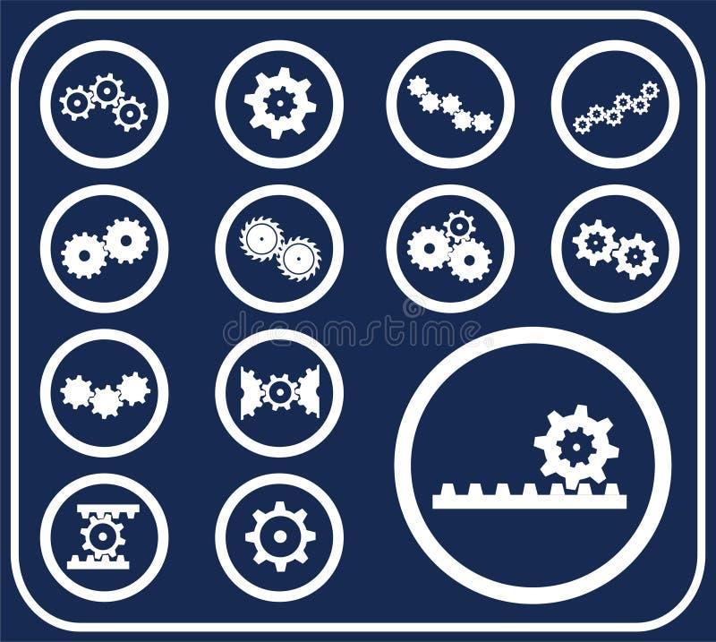 被设置的51个按钮d齿轮 库存例证