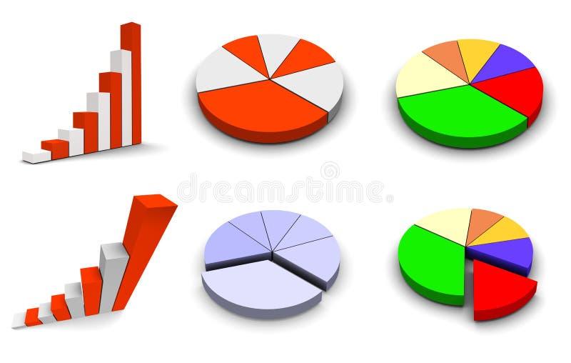 被设置的6个图形图标 库存例证