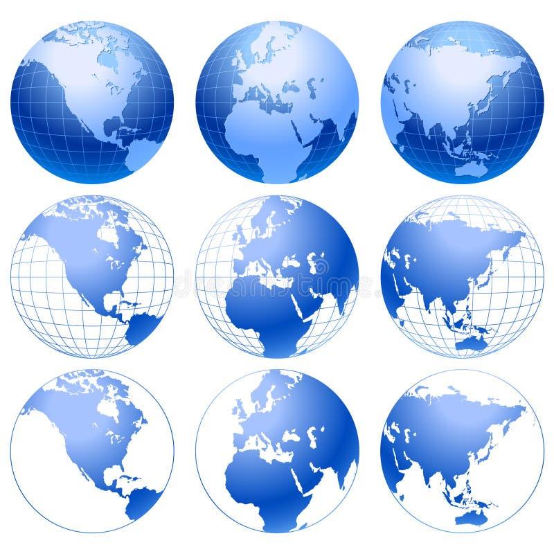 被设置的9个蓝色地球图标 皇族释放例证
