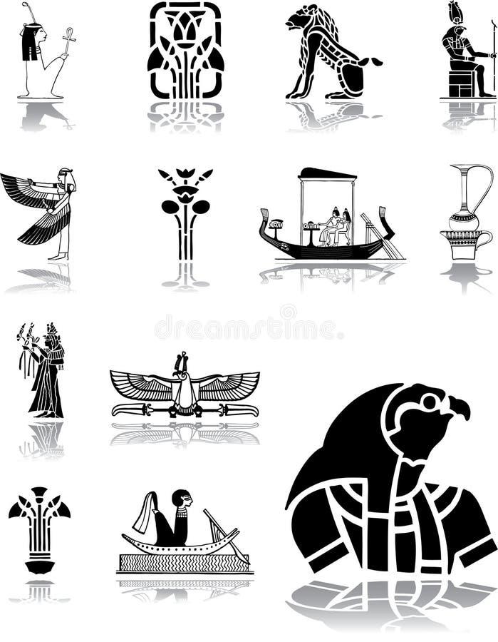 被设置的96个埃及图标 库存例证