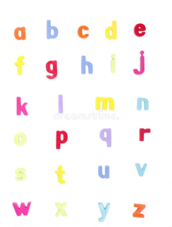 被设置的abc字母表五颜六色的信函 免版税库存图片