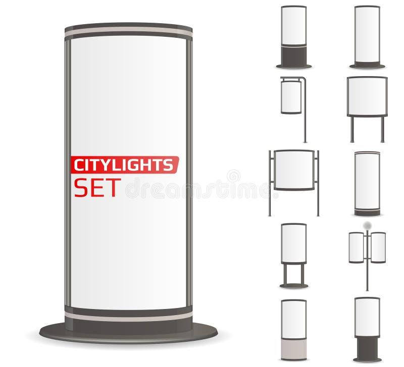给被设置的citylights做广告 库存例证