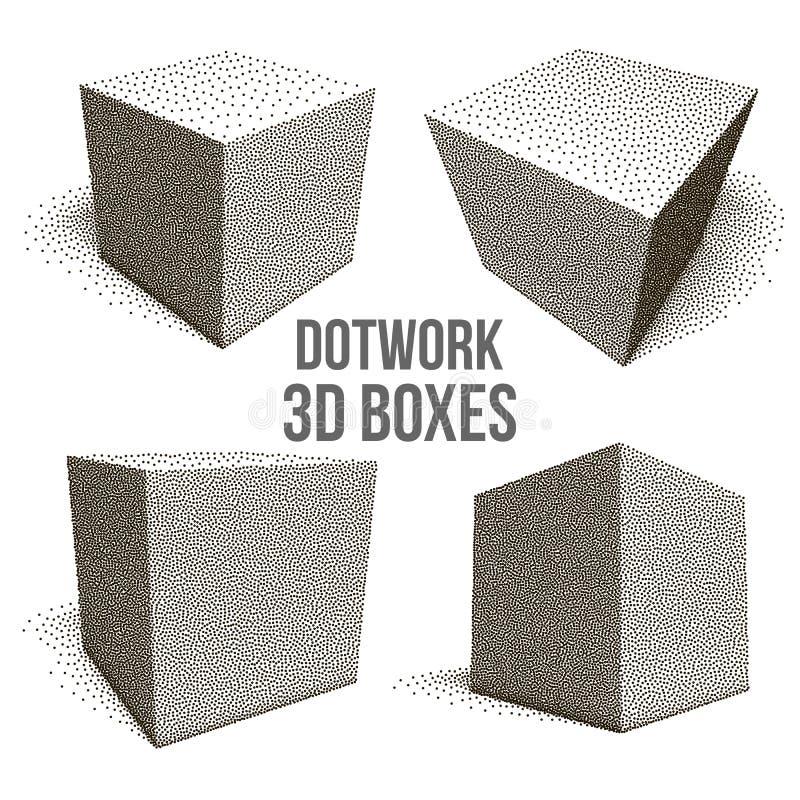 被设置的Dotwork半音传染媒介箱子 向量例证