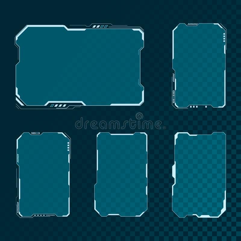 被设置的HUD未来派用户界面屏幕组成元素 抽象控制板布局设计 科学幻想小说真正技术显示 向量 向量例证