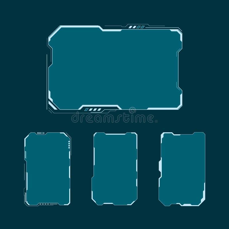 被设置的HUD未来派用户界面屏幕组成元素 抽象控制板布局设计 传染媒介例证科学幻想小说真正技术d 库存例证