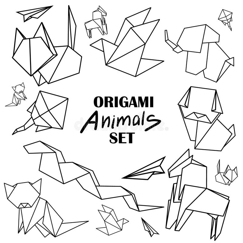 被设置的Origami动物 从纸蛇,狗,马,猫,鸟,狐狸的动物 皇族释放例证