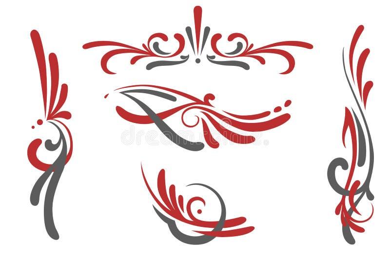 被设置的Pinstriping装饰品 库存例证