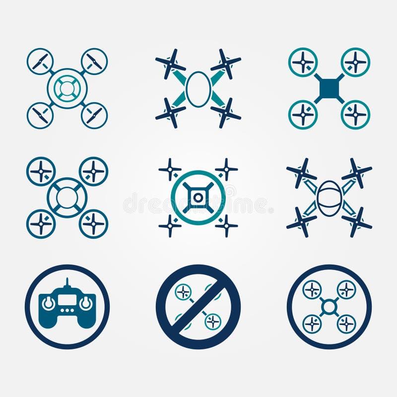 被设置的Quadrocopter传染媒介平的象 库存例证
