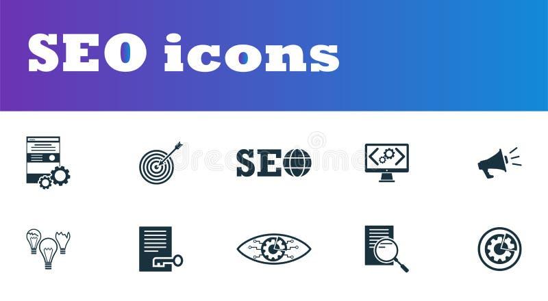 被设置的SEO象 UI和UX 优质质量标志收藏 SEO象设置了简单的元素用于应用程序、印刷品,软件等 库存例证