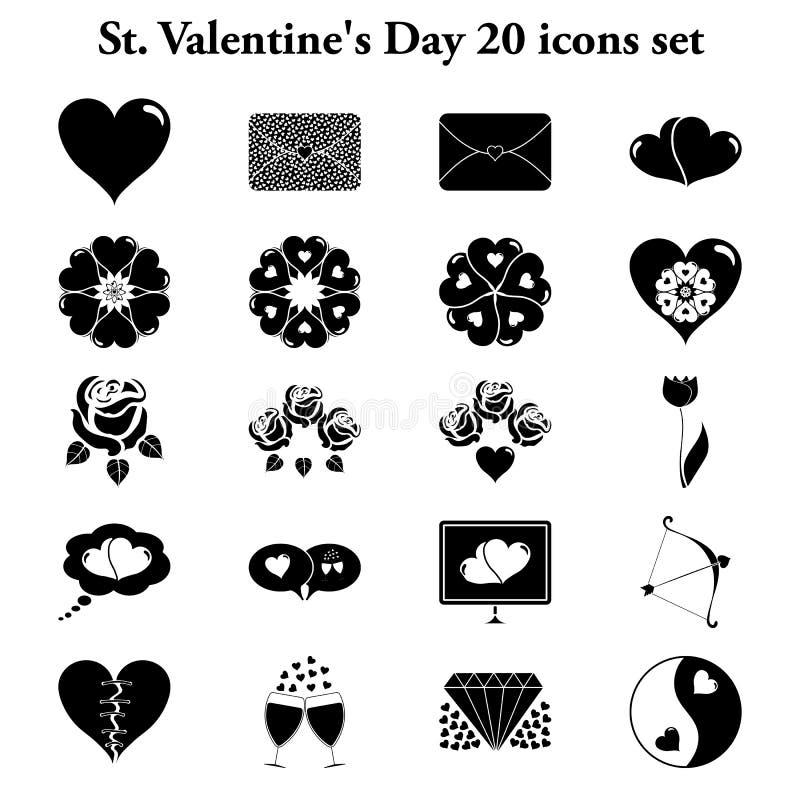 被设置的St Valentne的天20简单的象 皇族释放例证