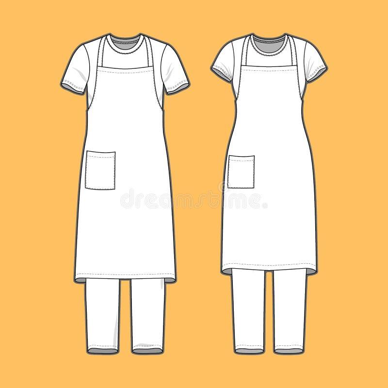 被设置的T恤杉、围裙和裤子 向量例证