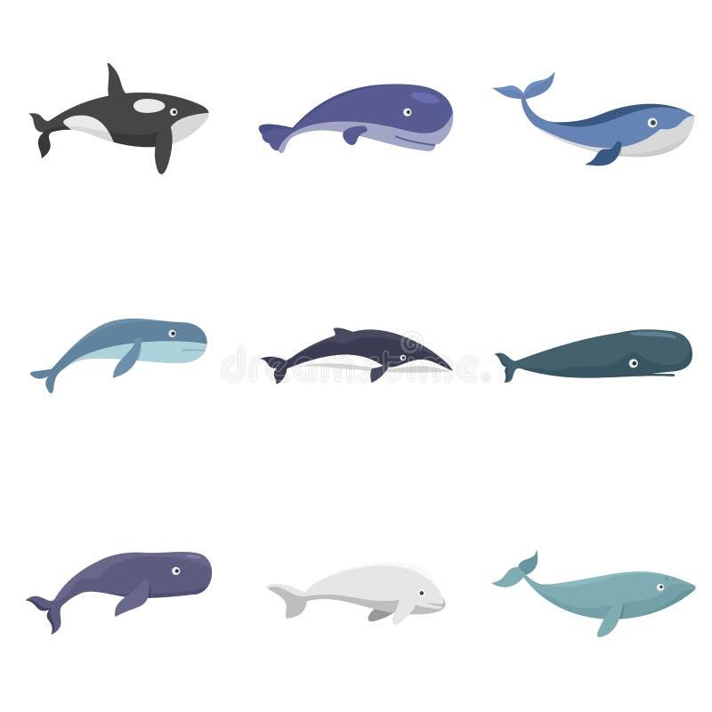 被设置被隔绝的鲸鱼蓝色传说鱼象 向量例证