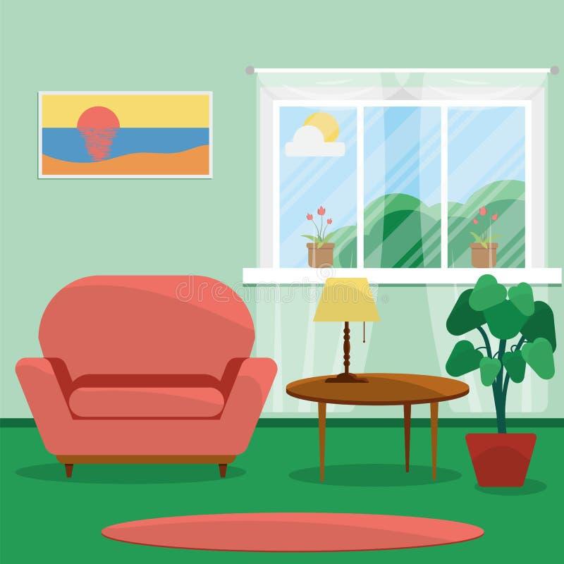 被设计的家庭内部居住的减速火箭的空间样式 客厅的室内设计 向量例证