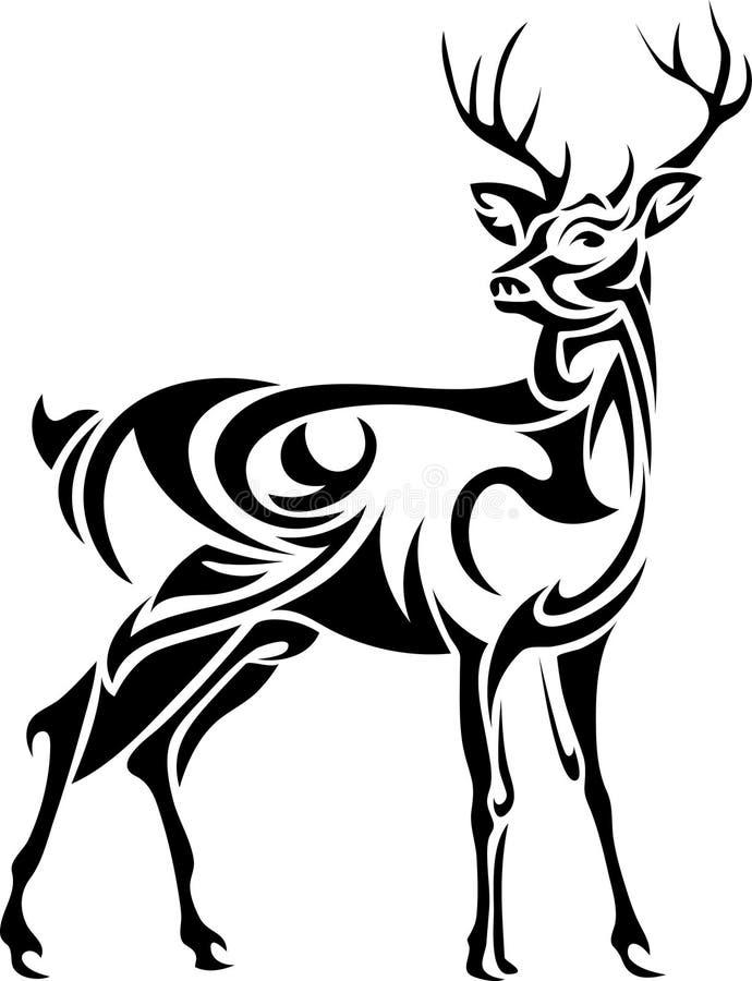 被设计的雄鹿线艺术图象 向量例证