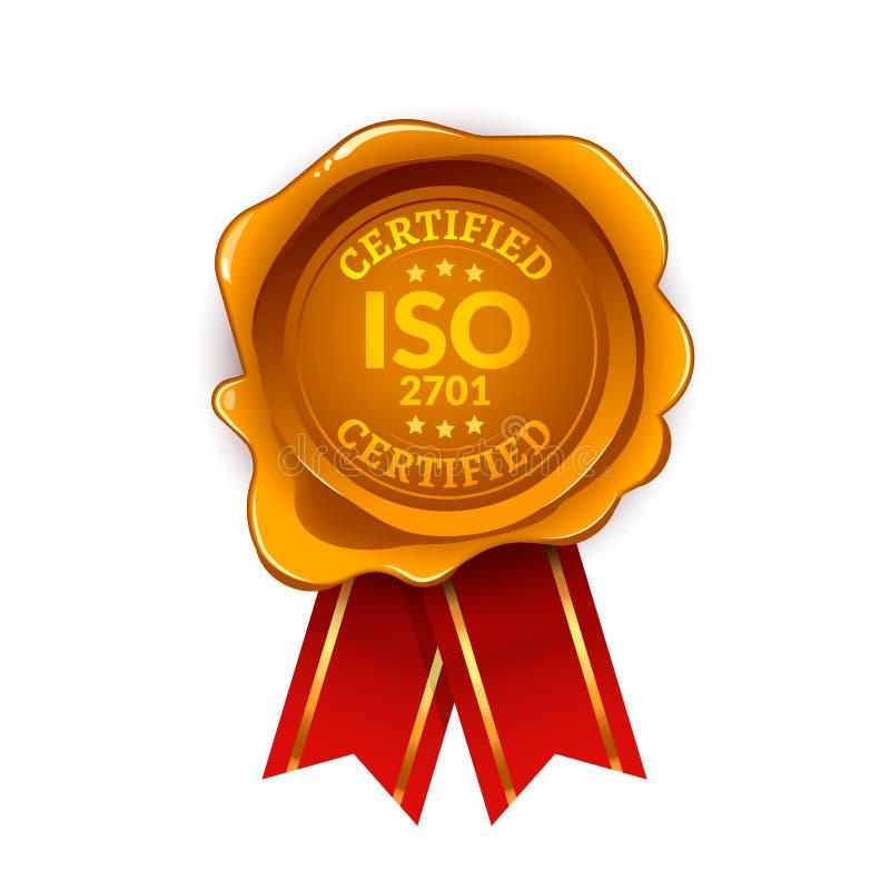被证明的ISO 2701标准 Iso封印标签证明 向量例证