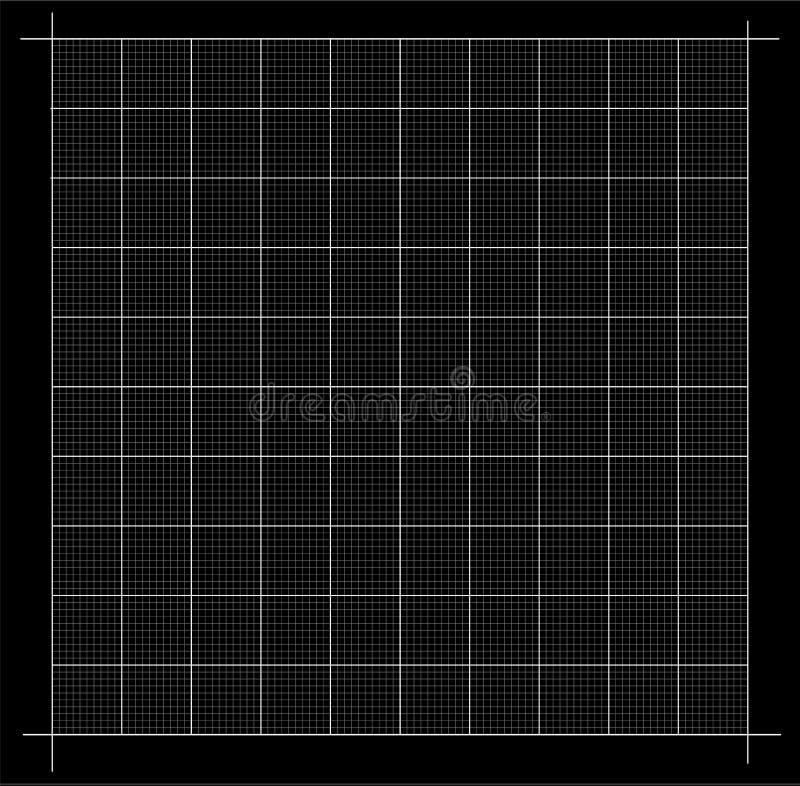 被评定的网格 密谋栅格的图表 在黑背景与测量的壁角统治者隔绝的 传染媒介座标图纸 库存例证