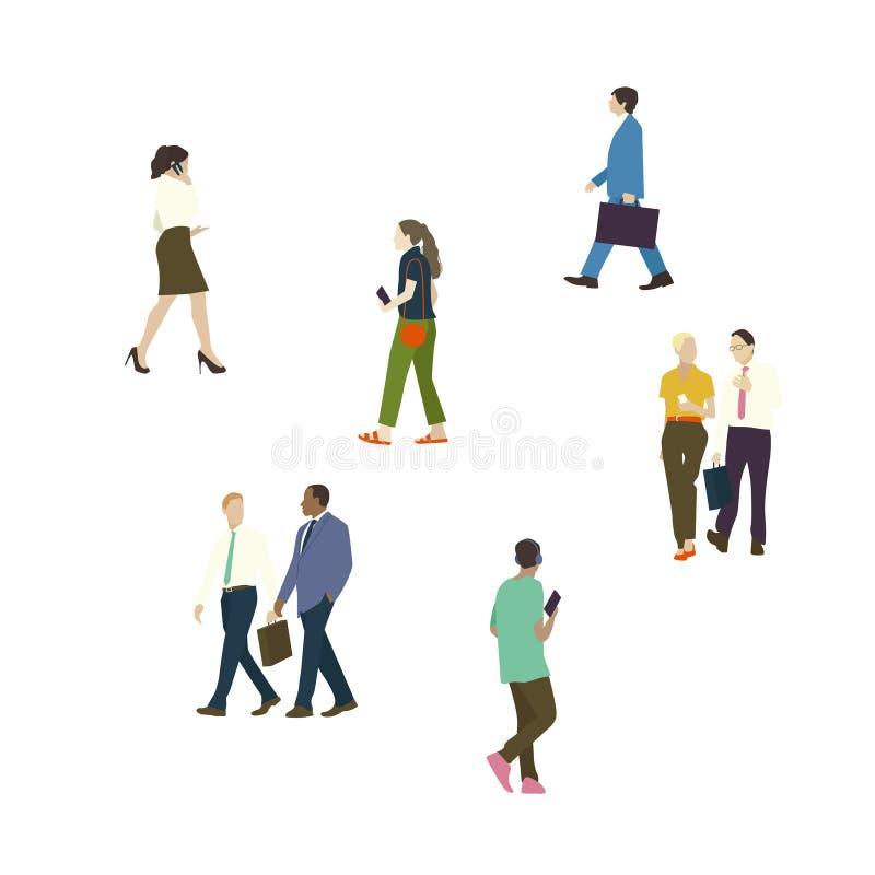被说明的人民设置与各种各样的事业 向量例证