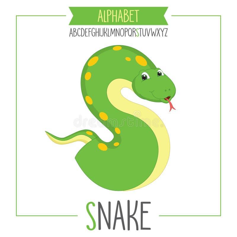 被说明的字母表字母S和蛇 库存例证