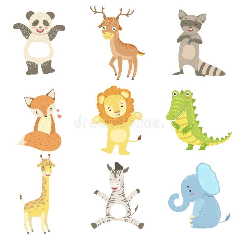 被赋予人性的动物被设置艺术性的滑稽的贴纸 向量例证