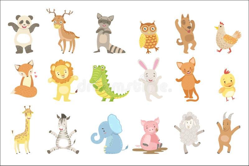 被赋予人性的动物设置了艺术性的滑稽的贴纸 皇族释放例证
