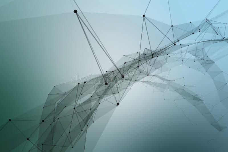 被连接的小点和线形成一条巨大的传送带 向量例证