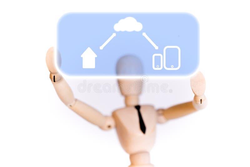被连接的木木偶解释在家 免版税库存图片