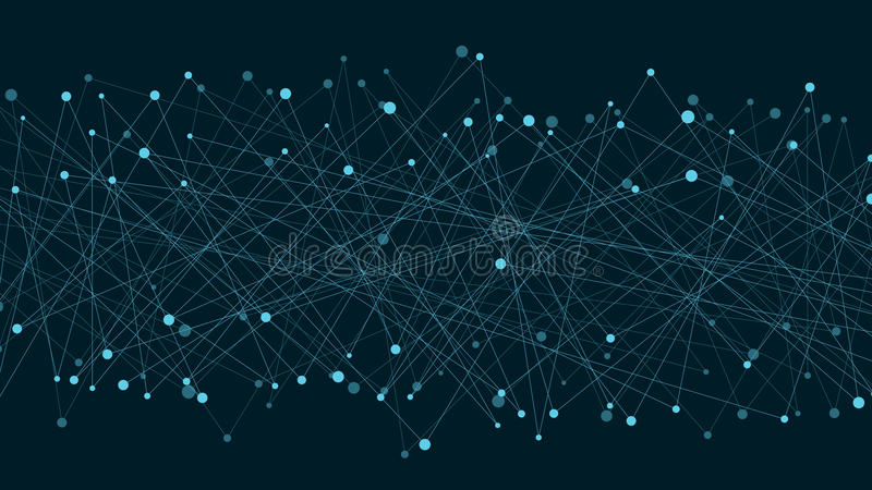 被连接的线和小点抽象未来派背景  霓虹线是蓝色的 元素的运动 结节样式 新的technolog 库存例证