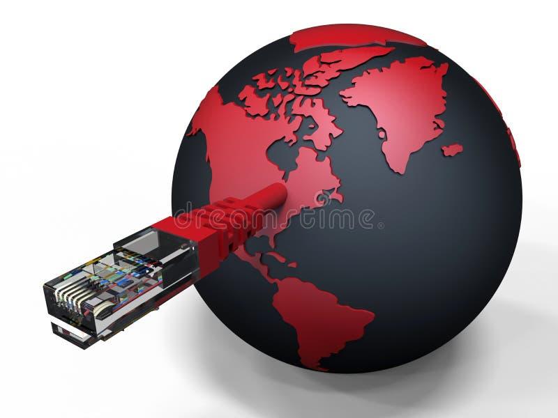 被连接的行星地球-互联网 库存例证