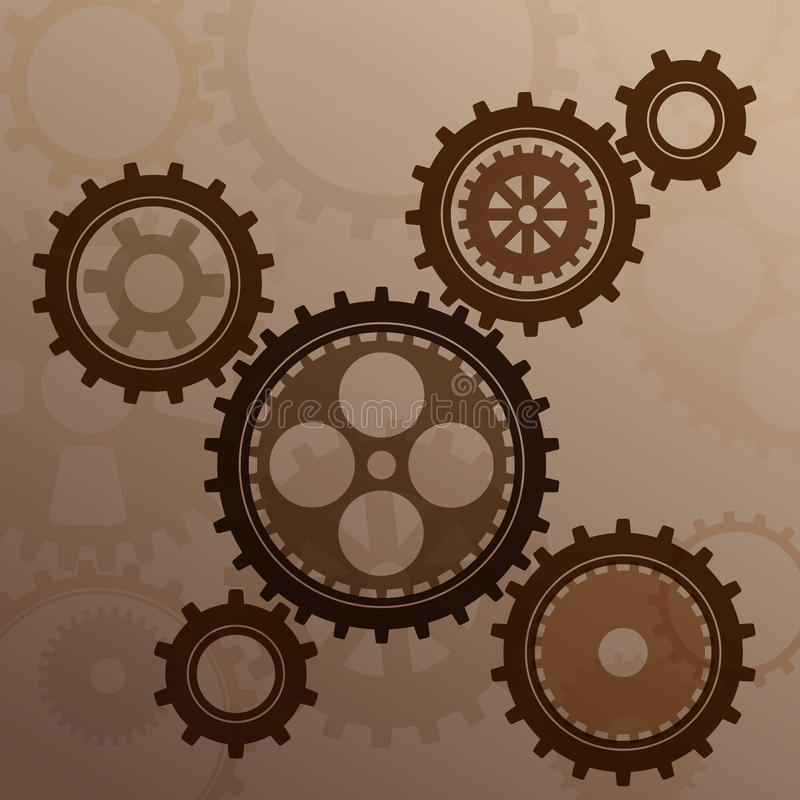 被连接的齿轮嵌齿轮金属剪影 皇族释放例证