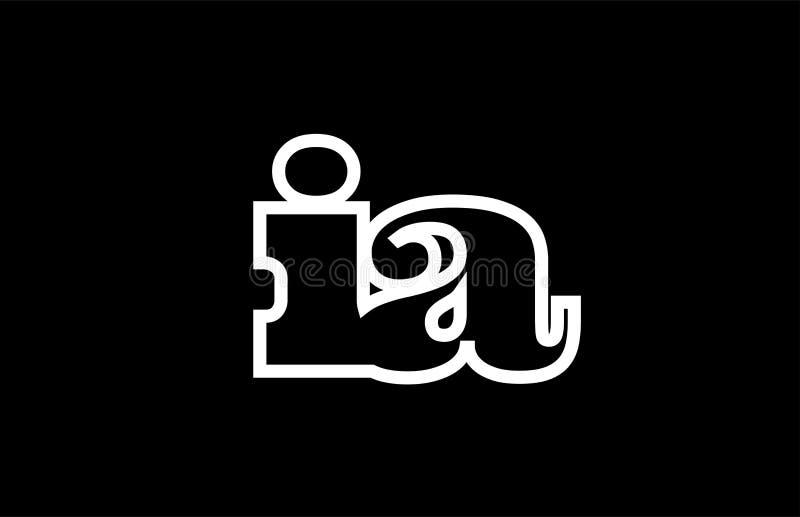 被连接的ia i一个黑白字母表字母组合商标象设计 向量例证