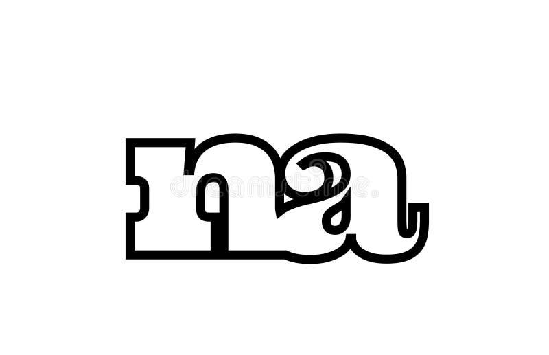 被连接的na n一个黑白字母表字母组合商标象设计 库存例证
