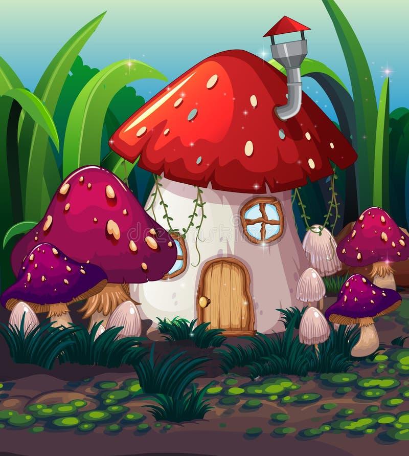 被迷惑的不可思议的蘑菇房子 库存例证