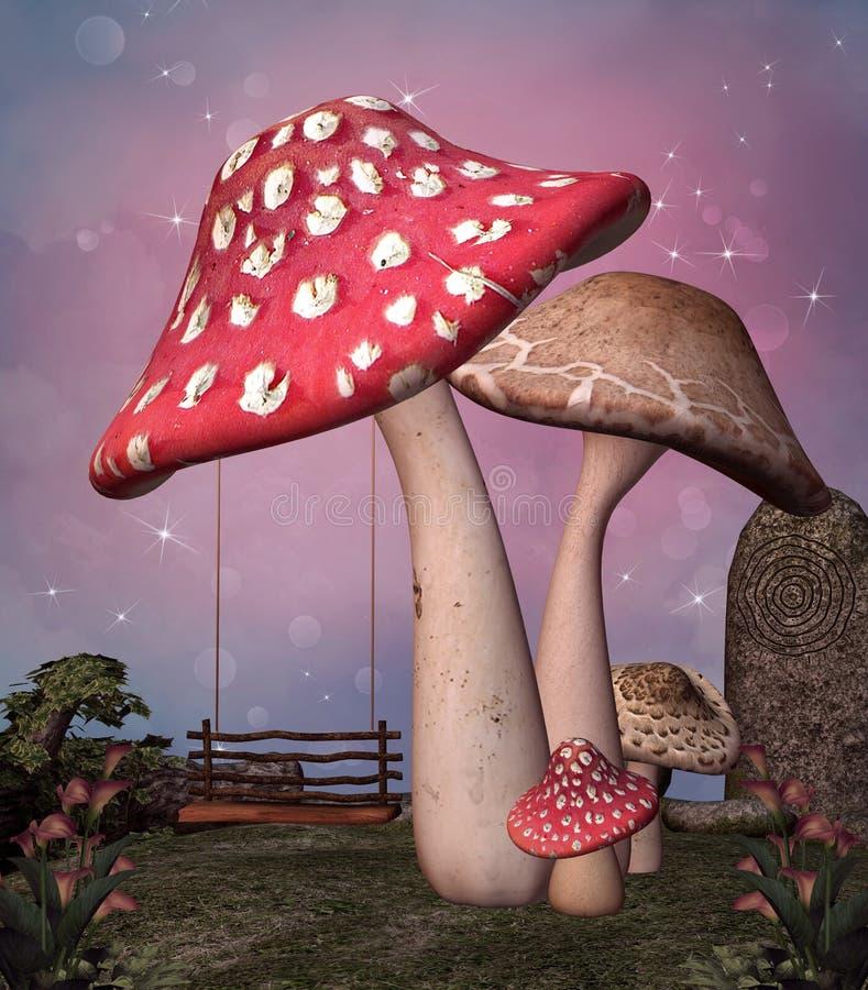 被迷惑的蘑菇和摇摆 向量例证