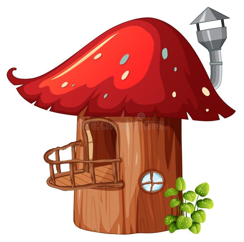 被迷惑的蘑菇木房子 向量例证
