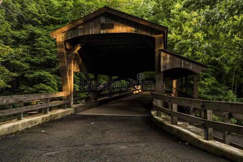 被遮盖的桥-磨房小河公园, Youngstown,俄亥俄 图库摄影