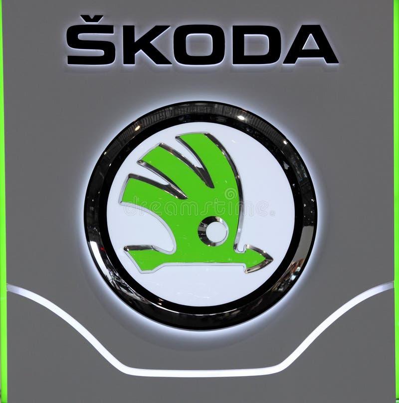 被采取的24 2011自动成都国际徽标照片9月显示skoda 免版税图库摄影