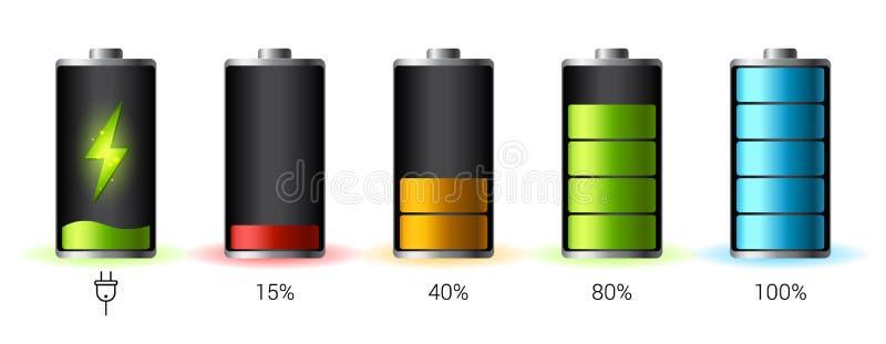 被释放的和充分地被充电的电池智能手机-导航infographic 库存图片