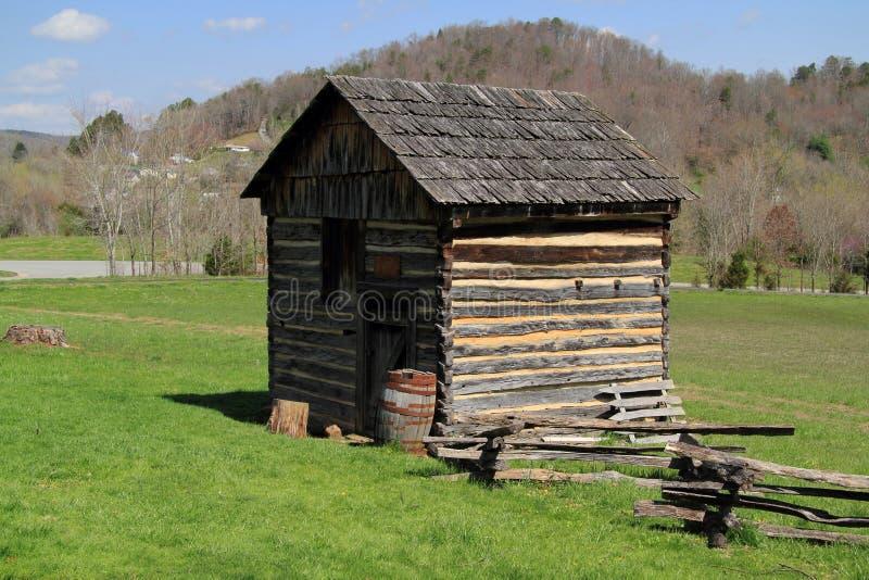 被重建的原木小屋在坎伯兰峡 库存照片