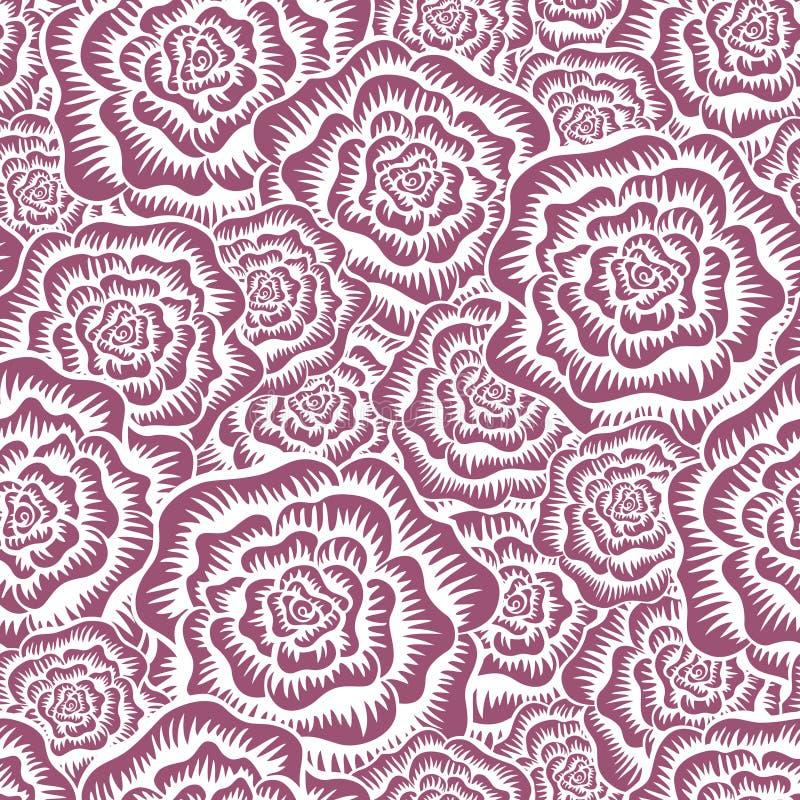 被铭刻的玫瑰无缝的样式 库存例证